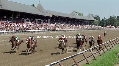 Saratoga, Travers day.  Uncommon Valor, left, winning.
