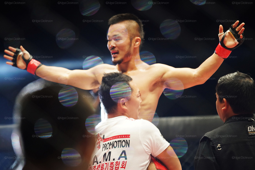 Dwae Hwan Kim, Kamma Bantamweight Champion beats Teng Li Ge, National Muay Thai Contender<br /><br />MMA. Mixed Martial Arts &quot;Tigers of Asia&quot; cage fighting competition. Top professional male and female fighters from across Asia, Russia, Australia, Malaysia, Japan and the Philippines come together to fight. This tournament takes place in front of a ten thousand strong crowd of supporters in Pelaing Stadium. Kuala Lumpur, Malaysia. October 2015