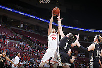 Ohio State Buckeyes forward Martina Ellerbe (23) and Army Black Knights guard/forward Jen Hazlett (1) compete for a rebound during the first half of Friday's NCAA Division I basketball game at Value City Arena in Columbus on December 13, 2013. (Barbara J. Perenic/The Columbus Dispatch)