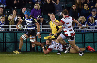 Zach Mercer of Bath Rugby goes on the attack. West Country Challenge Cup match, between Bath Rugby and Gloucester Rugby on September 26, 2015 at the Recreation Ground in Bath, England. Photo by: Patrick Khachfe / Onside Images
