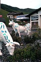 Liechtenstein  Malbun  June 2008.Small town high in the Alpine (southeastern)..Statues of cows..