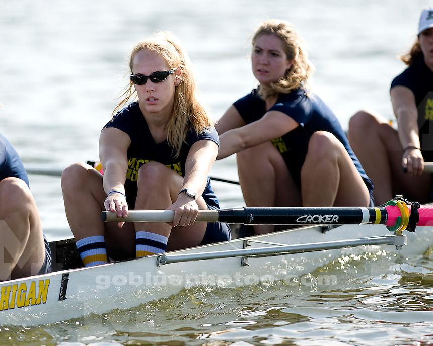 University of Michigan women's crew team in action against Notre Dame and Michigan State on Belleville Lake on September 18, 2011.