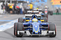 March 19, 2016: Marcus Ericsson (SWE) #9 from the Sauber F1 Team leaving the pits for qualifying at the 2016 Australian Formula One Grand Prix at Albert Park, Melbourne, Australia. Photo Sydney Low