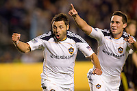 LA Galaxy midfielder Dema Kovalenko begins to celebrate his goal with teammate Todd Dunivant trailing closely behind. The LA Galaxy defeated the Columbus Crew 3-1 at Home Depot Center stadium in Carson, California on Saturday Sept 11, 2010.