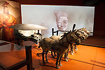"A half-scale reproduction of a 2,200-year-old horse-drawn chariot is part of the ""Terra Cotta Warriors"" exhibit; ""Terra Cotta Warriors: The Emperor's Painted Army,"" Exhibit directly from Xian in the Shaanxi Province, China debuted in 2014 at the Children's Museum, Indianapolis, Indiana, USA"