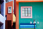 Colorful stucco buildings in Tucson, AZ