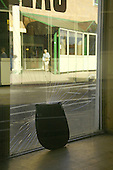 Looking out from a disused shop in the centre of the the northamptonshire town of Kettering which is slowly seeing more and more empty shop units despite calls for the Borough Council to help with the easing of buisness rates and car park charges
