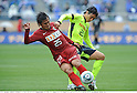 Yasushi Endo (Antlers), Yasuhiro Hato (Marinos), APRIL 25th, 2011 - Football : 2011 J.League Division 1 match between Kashima Antlers 0-3 Yokohama Marinos at National Stadium in Tokyo, Japan. The J.League resumed on Saturday 23rd April after a six week enforced break following the March 11th Tohoku Earthquake and Tsunami. All games kicked off in the daytime in order to save electricity and title favourites Kashima Antlers are still unable to use their home stadium which was damaged by the quake. Velgata Sendai, from Miyagi, which was hard hit by the tsunami came from behind for an emotional 2-1 victory away to Kawasaki. (Photo by Takamoto Tokuhara/AFLO).