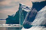 Icebergs from Humboldt Glacier,  Kane Basin, north west Greenland. Humboldt Glacier is 110km wide, making it the widest glacier in the Northern Hemisphere. (c) 2009 Dave Walsh