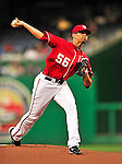 23 April 2010: Washington Nationals' starting pitcher Luis Atilano makes his Major League debut, pitching six innings and allowing one run on five hits in a 5-1 win over the Los Angeles Dodgers at Nationals Park in Washington, DC. Mandatory Credit: Ed Wolfstein Photo