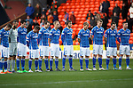 Dundee United v St Johnstone....21.11.15  SPFL,  Tannadice, Dundee<br /> Saints players take part in a minute's silence in memory of the Paris terroist attacks<br /> Picture by Graeme Hart.<br /> Copyright Perthshire Picture Agency<br /> Tel: 01738 623350  Mobile: 07990 594431