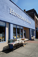 Used books store with outdoor sidewalk tables, Bellingham, Washington state, USA