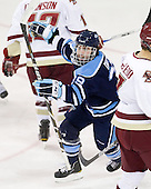 Joey Diamond (Maine - 39) celebrates Mark Nemec's goal which tied the game at 1 midway through the second period. - The Boston College Eagles defeated the visiting University of Maine Black Bears 4-1 on Sunday, November 21, 2010, at Conte Forum in Chestnut Hill, Massachusetts.