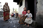A family lives in poverty in a slum area of Pokhara, Nepal.