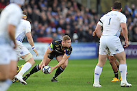 Chris Cook of Bath Rugby looks to pass the ball. European Rugby Champions Cup match, between Bath Rugby and Leinster Rugby on November 21, 2015 at the Recreation Ground in Bath, England. Photo by: Patrick Khachfe / Onside Images