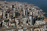 aerial overview of the Transbay Transit Center and Financial Center, San Francisco, California