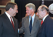 Washington, DC - November 12, 1999 -- U.S. Secretary of the Treasury Lawrence Summers, U. S. President Bill Clinton and U.S. Federal Reserve Chairman Alan Greenspan speak following the signing of S.900, the Financial Services Modernizationa Act of 1999 on 12 November, 1999.  This act replaces the depression-era Glass-Stegall Act.<br /> Credit: Ron Sachs / CNP