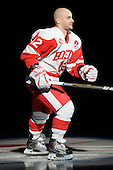 BU Co-Captain Chris Connolly (BU - 12) got to skate in the spotlight twice after a glitch in the starting player announcements. - The Boston University Terriers defeated the visiting University of Toronto Varsity Blues 9-3 on Saturday, October 2, 2010, at Agganis Arena in Boston, MA.