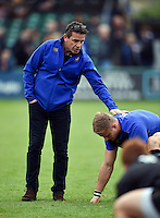 Bath Rugby Head Coach Mike Ford offers encouragement to Max Northcote-Green of Bath Rugby during the pre-match warm-up. West Country Challenge Cup match, between Bath Rugby and Exeter Chiefs on October 10, 2015 at the Recreation Ground in Bath, England. Photo by: Patrick Khachfe / Onside Images