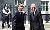 Prime Minister David Cameron welcomes Prime Minister Arseniy Yatseniuk of Ukraine to Number 10 Downing Street London, Great Britain <br /> 15th July 2015 <br /> <br /> <br /> <br /> <br /> Photograph by Elliott Franks <br /> Image licensed to Elliott Franks Photography Services