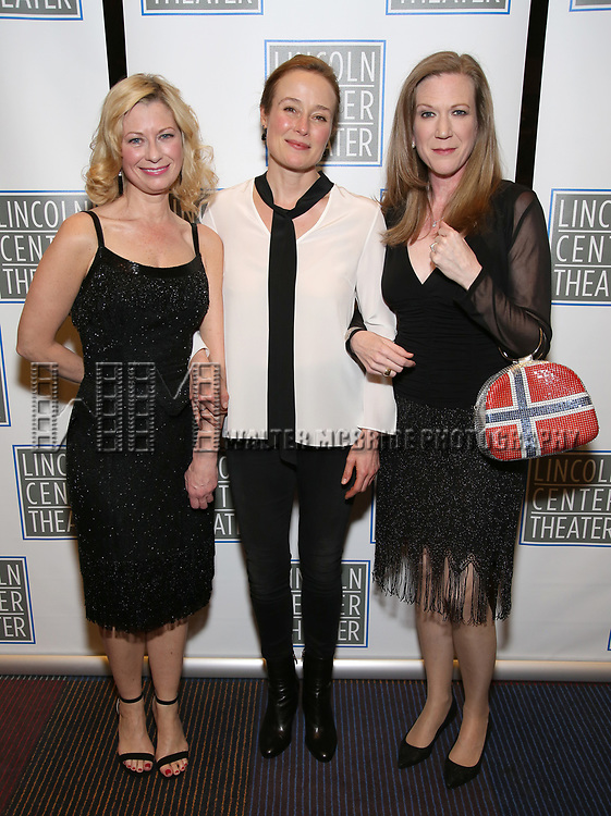 Angela Pierce, Jennifer Ehle, Henny Russell attend the Opening Night Performance press reception for the Lincoln Center Theater production of 'Oslo' at the Vivian Beaumont Theater on April 13, 2017 in New York City.