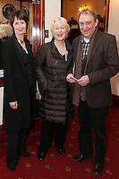 """NO REPRO FEE. 17/1/2010. The Field opening night.Ingrid Craigne, Dearbhla Molloy and Dermot Crowley are pictured at the Olympia Theatre for the opening night of John B Keanes 'The Field"""" Picture James Horan/Collins"""