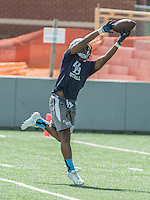 NWA Democrat-Gazette/ANTHONY REYES &bull; @NWATONYR<br /> Trey Smith, with Springdale Har-Ber stretches for a catch against Springdale Friday, July 10, 2015 during the Southwest Elite 7 on 7 tournament at Jarrell Williams Bulldog Stadium in Springdale.