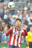 Carlos Alvarez (20) Chivas USA heads the ball..Sporting Kansas City defeated Chivas USA 4-0 at Sporting Park, Kansas City, Kansas.