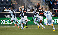 Claudio Bieler (16) of Sporting Kansas City celebrates his goal during the game at PPL Park in Chester, PA.  Kansas City defeated Philadelphia, 3-1.