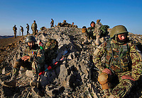 Members of  the Afghan National Army took part in a joint 4-day mission with members of  2nd Platoon, Comanche Company, 1-501 IN (ABN) (Task Force Blue Geronimo) out of Fort Richardson Alaska in the mountains that overlook the border with Pakistan. The purpose of the mission was to survey the area for possible insurgency activity as well as to search surrounding villages for possible weapons caches. ..International forces are increasingly relying on Afghan National Security Forces (ANSF) such as the Afghan National Army  (ANA) in conducting village searches, key village leader engagements and biometrics intelligence gathering operations in preparation for the 2013 handover of security operations to the ANSF.
