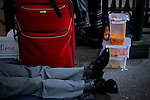 A protester rest next to his food while protesters of the Occupy Wall Street movement celebrate their first anniversary with marches and confrontations with the New York police where 150 protesters have been arrested during weekend celebrations in Manhattan.  Photo by Eduardo Munoz Alvarez / VIEWpress.