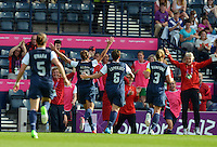 Glasgow, Scotland - July 25, 2012: Carli Lloyd and the USA Women's Olympic Soccer Team celebrate her game winning goal vs France at the London Olympics.