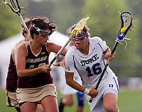 Kim Wenger (16) of Duke is defended by Elizabeth Donovan (16) of Boston College during the first round of the ACC Women's Lacrosse Championship in College Park, MD.  Duke defeated Boston College, 17-6.