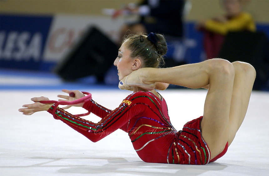 October 18, 2001; Madrid, Spain:  ELIZABETH PAISIEVA of Bulgaria leaps with rope at 2001 World Championships at Madrid.