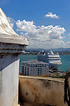USA, Puerto Rico, San Juan. The MSC Poesia in port at San Juan, Puerto Rico.