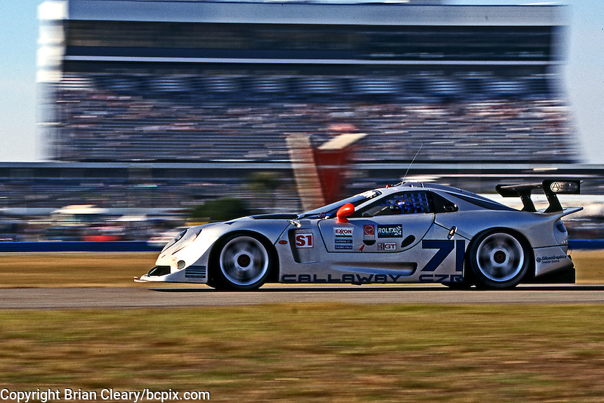 The #71 Callaway Chevrolet of Ron Fellows, Enrico Bertaggia, Johnny Unser and Boris Said  races to a 54th place finish in the 1997 24 Hours of Daytona , Daytona International Speedway, February 2, 1997.  ( Photo by Brian Cleary/ www.bcpix.com )
