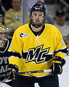 Bobby Kramer (Merrimack - 10) - The University of Notre Dame Fighting Irish defeated the Merrimack College Warriors 4-3 in overtime in their NCAA Northeast Regional Semi-Final on Saturday, March 26, 2011, at Verizon Wireless Arena in Manchester, New Hampshire.