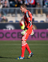 Zac MacMath (18) of the Philadelphia Union yells to his team during a Major League Soccer game at PPL Park in Chester, PA. Sporting Kansas City defeated the Philadelphia Union, 2-1.