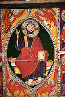 Romanesque thirteenth century painted altar front of Saint Roma de Vila, Encamp, Andorra, showing Christ Paontocrator in a Mandorla flanked by Tetramorph showing the four evangelical symbols - St Matthew the man, St Mark the lion, St Luke the ox, and John the eagle.  National Art Museum of Catalonia, Barcelona 1922. Ref: MNAC 1587.