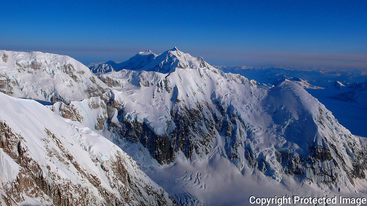 Mount Hunter from Denali's West Buttress route, Alaska Range.
