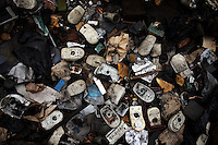 Computer mice lie on the ground at Agbogbloshie dump, in Accra, Ghana.