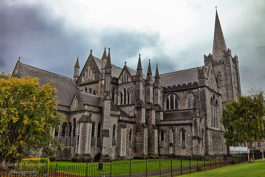 A view from the gardens of St. Patrick's Cathedral in the rain in Dublin.