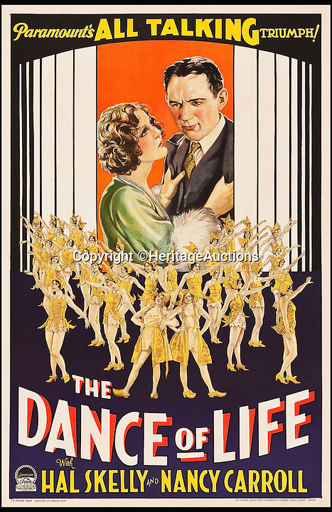 BNPS.co.uk (01202 558833)<br /> Pic: HeritageAuctions/BNPS<br /> <br /> The Dance of Life (Paramount, 1929) estimate $4,000.<br /> <br /> A lucky family is set to make a staggering &pound;160,000 after a hoard of old film posters they stumbled upon under the floor of their new home turned out to be 'lost' Hollywood relics.<br /> <br /> The prized stash of 17 perfectly preserved posters was discovered by Bob and Dylan Basta as they tore up the lino in the house their dad Robert was renovating. <br /> <br /> After calling in experts from leading auctioneers Heritage they found that among their treasure trove were five never-seen-before posters from the Golden Age of Hollywood.<br /> <br /> The collection is now tipped to fetch a whopping $240,000 - around &pound;160,000 - at Heritage Auctions in Dallas, Texas.