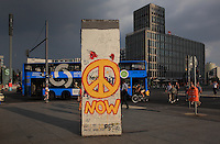 Section of the Berlin Wall covered in graffiti in the Potsdamerplatz, Berlin, Germany. The Berlin Wall was constructed in 1961 by East Germany, the former GDR, to surround West Berlin, and was brought down in 1989. Picture by Manuel Cohen
