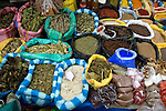 Colorful herbs and spices on display in Otavaldo marketplace in Ecuador