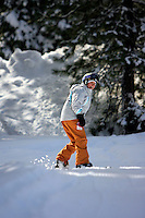24 February 2008: Snowboarder Nicole Dugas at Northstar after a late winter storm in Lake Tahoe, Truckee Nevada California border in the Sierra Mountains.