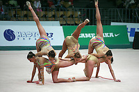 """Rhythmic group from Bulgaria performs 5 ropes routine at 2008 World Cup Kiev, """"Deriugina Cup"""" in Kiev, Ukraine on March 22, 2008."""