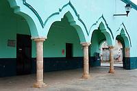 Moorish arches of the Municipal Palace or Palacio Municipal in the town of Santa Elena, Yucatan, Mexico