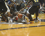 "A scramble for the ball at C.M. ""Tad"" Smith Coliseum in Oxford, Miss. on Saturday, December 4, 2010."