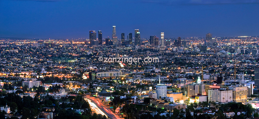 Los Angeles Skyline, Capital Records Bldg, Downtown LA, Southern Calif.